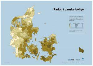 Kort over Radon i danske boliger. Fra Sundhedsstyrelsen.