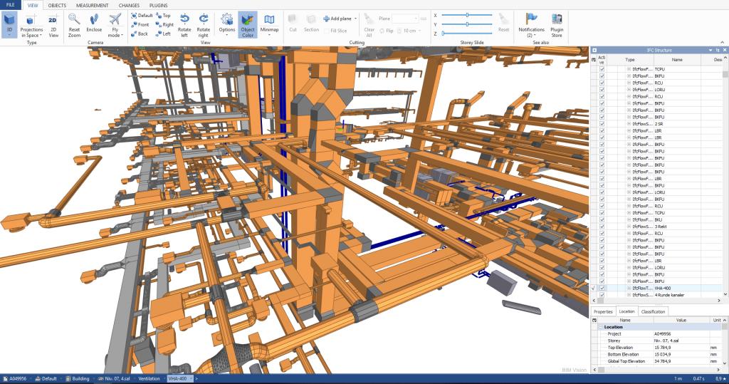 3D BIM model af installationer