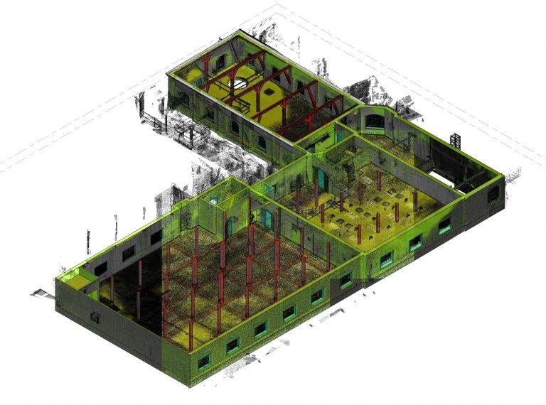 Visualisering i Revit af en optegnet punktsky for Havnegade i stueplan