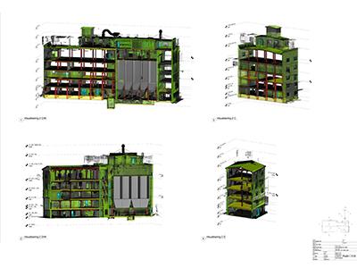 Visualisering af kompleks bygning i flere niveauer - Havnegade optegnet i Revit ud fra punktsky baseret på 3D førregistrering