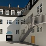 3D Visualisering af projekteret byggeri set fra gården