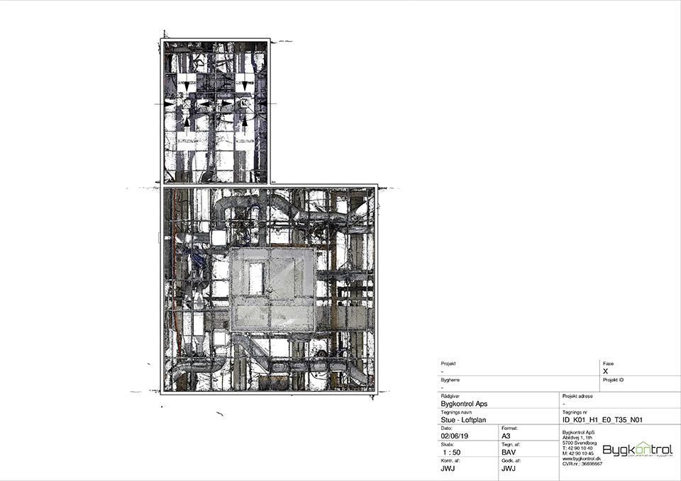 Data og D&V plan over bygning med ventilationsprojekt