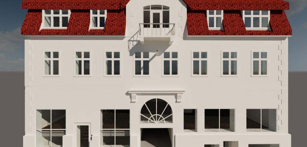 Visualisering af bygning der renoveres