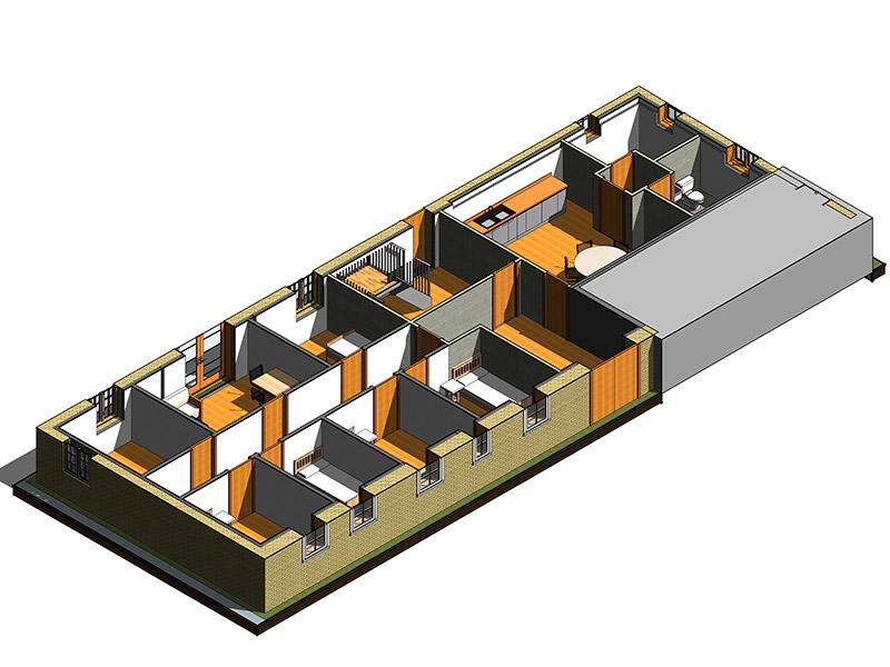 Visualisering af stue ved projektering for private